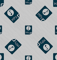Audio MP3 file icon sign Seamless pattern with vector image