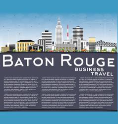 Baton rouge louisiana city skyline with color vector