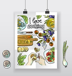 Beautiful hand-draw poster i love cooking vector image