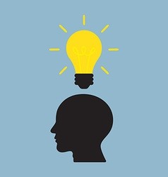 Bright light bulb on top of human head vector