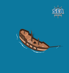 broken sailer on a blue background vector image