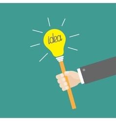 Businessman hand holding paper idea light bulb on vector
