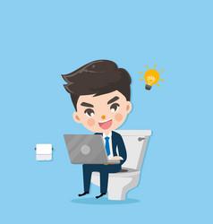 Businessman in toilet vector