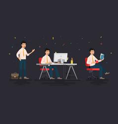 businessman working character design set vector image