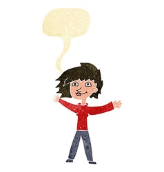 Cartoon excited woman waving with speech bubble vector