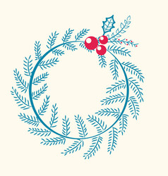 christmas pattern wreath berry vector image
