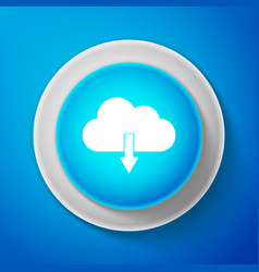 cloud download icon isolated on blue background vector image
