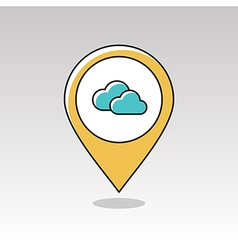 Clouds pin map icon Meteorology Weather vector