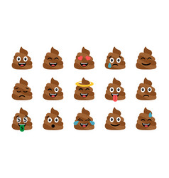 Cute funny poop set emotional shit icons vector