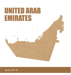 detailed map of uae cut out of craft paper vector image