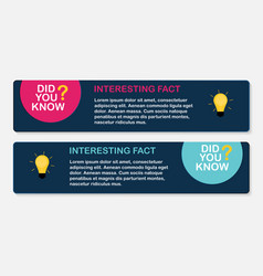 did you know interesting fact label sticker set vector image