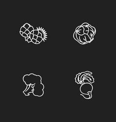 Dieting chalk white icons set on black background vector