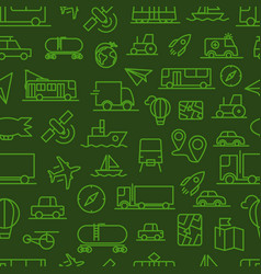 different transport icons seamless background vector image