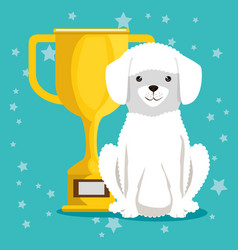 dog with trophy pet friendly vector image