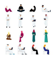 flat people in traditional arabian clothes vector image