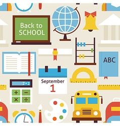 Flat Seamless Pattern Back to School Objects over vector image