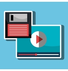 Floppy disk with media player isolated icon vector