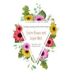 floral pattern wedding invitation greeting card vector image