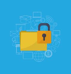 Folder locked system vector