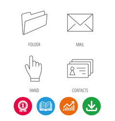 Folder press hand and contacts icons vector