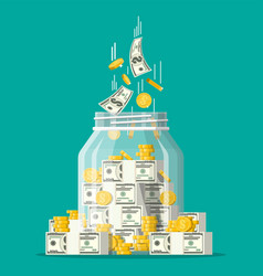 glass money jar full gold coins and banknotes vector image