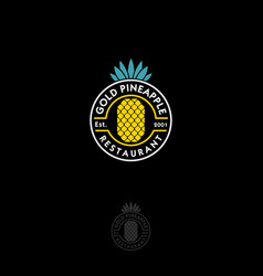 Gold pineapple logo restaurant emblem vector