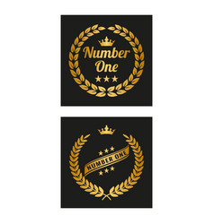 golden laurel wreath in two versions vector image