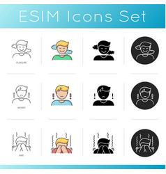 Good and bad emotions icons set vector