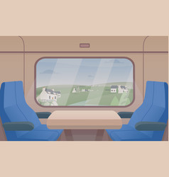 gorgeous view from train window and pair of seats vector image