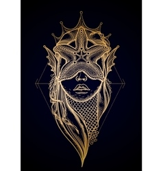 Graphic mermaid head vector