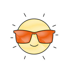 Grated happy and cute sun kawaii with sunglasses vector