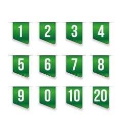 Green ribbons with number set vector