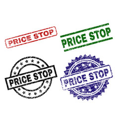 grunge textured price stop seal stamps vector image