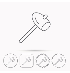Hammer icon Repair or fix sign vector image