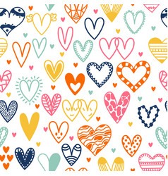 Hand drawn seamless pattern with hearts doodle vector