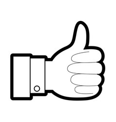 hand thumb up icon in black silhouette with thick vector image