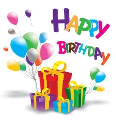 Happy birthday with Multicolored gift box on white vector image