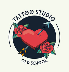 Heart and arrow with roses tattoo studio image vector