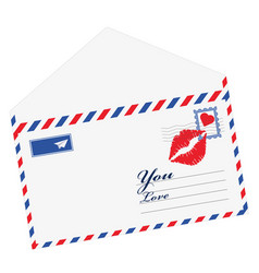 heart in the envelope mail open with heart the vector image