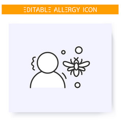 Insect stings allergy line icon editable vector