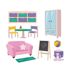 Kindergarten furniture playroom items toys chairs vector