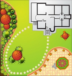 Landscape Plan with treetop symbols vector image