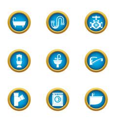 latrine icons set flat style vector image