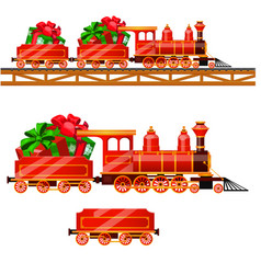 Little red train with wagons by rail carries boxes vector