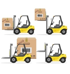 Loader with box shipment icons set vector