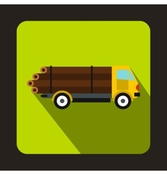 Logging truck logs icon flat style vector image