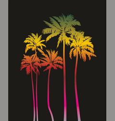 magical palms trees at night vector image