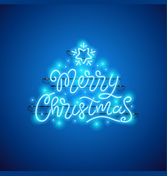 Merry christmas blue neon sign vector