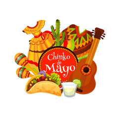 Mexican holiday maracas guitar mariachi costumes vector