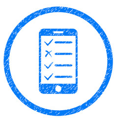 Mobile checklist rounded grainy icon vector